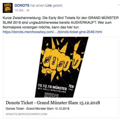 Donots Frühbucher GMS 2018 ausverkauft